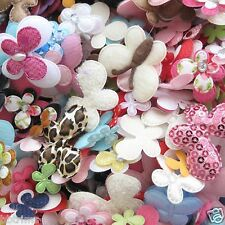 100x Assorted Butterfly Padded Appliques/Felt/Satin/Leopard/Polka Dot/Floral AB1