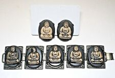 Vintage Chunky Lucite or Resin Buddha Panel Bracelet and Earrings Set