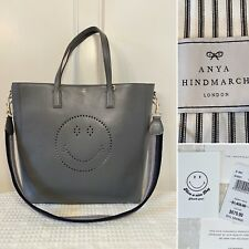 Authentic $1450 ANYA HINDMARCH Large Dark Gray Leather SMILEY Tote Shoulder Bag