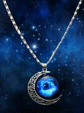 Free shipping Stylish Galaxy Universe Crescent Moon  Round Pendant Necklace A5