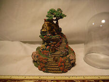 The Franklin Mint Glass Domed Wishing Well Cottage Sculpture