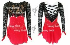 Figure Skating Competition Dress Ice Skating Dress Girl black lace red