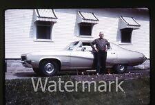 1968 Kodachrome duplicate  photo slide  Man standing by Buick Skylark car