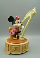 Vintage Disney Schmid Porcelain Music Box Minnie Mouse Playing The Harp