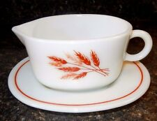 PYREX AUTUMN HARVEST GRAVY BOAT/UNDERPLATE 77B/77V RUST RED WHEAT & TAN~EXC Con.