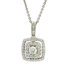 NATURAL 14K WHITE GOLD PAVE DIAMOND ROUND SOLITAIRE HALO PENDANT NECKLACE