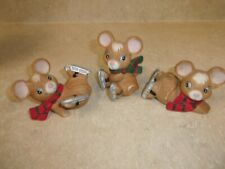 Vintage Set Of 3 Home Interior Homco Christmas Mice Figurines 5113 Mice Skating