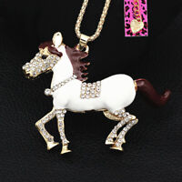 Betsey Johnson Enamel Crystal Steed Horse Pendant Sweater Chain Women's Necklace
