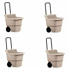 Suncast 15 Gallon Poly Multipurpose Rolling Lawn and Garden Cart, Taupe (4 Pack)