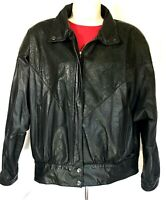 Vtg Leather Bomber Jacket Women's Large Black Brass Plumb Nordstrom