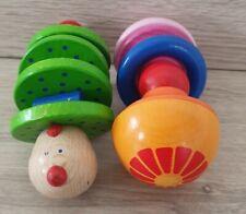 HABA Greiflinge Rasseln Holz Mehrfarbig Raupe Blume Spielzeug Babyspielzeug