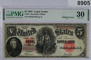 1907 US NOTE $5 WOOD CHOPPER FR#91 PMG CERTIFIED VF30 #8905