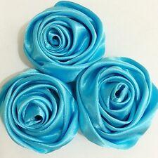 "12PC Teal Blue 2"" Satin Ribbon Rose Flower DIY Wedding Bridal Bouquet 50mm"