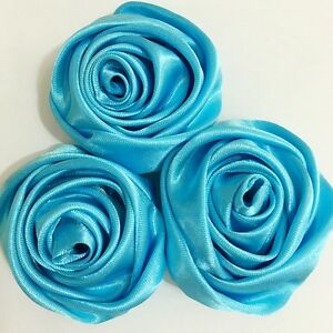 "24PC Teal Blue 2"" Satin Ribbon Rose Flower DIY Wedding Bridal Bouquet 50mm"