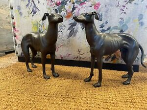 Greyhound Whippet pair Dog Cast Iron Statue Figure Ornament Sculpture Pair