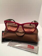 NEW Ray-Ban Folding Wayfarer 4105 6050/Z2 Matte Red/Grey Sunglasses 50mm