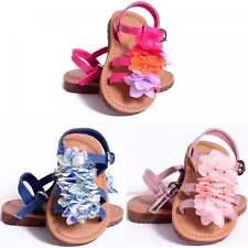 GIRLS TODDLERS KIDS BABIES STRAPPY FLOWER SUMMER GLADIATOR SANDALS 4-12