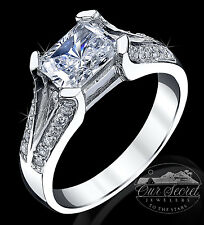 1.5 ct Radiant Cut Ring Top Russian Quality CZ Imitation Moissanite SS Size 9