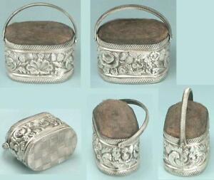 Antique Sterling Silver Basket Pincushion w/ Thistles, Roses & Shamrocks*C1830s