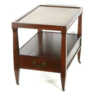 Mid Century Leather Top End Table with Bottom Shelf & Drawer