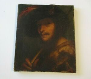 REMBRANDT SCHOOL OIL PAINTING CIRCLE OF OLD MASTER PORTRAIT 16TH -  17TH CENTURY
