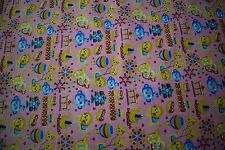 """12 Yards Pink Lion Baby Print Quilt Fabric Apparel Upholstery 45"""" Wide #103"""