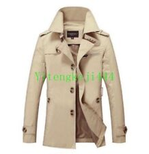 Chic Mens Trench Long Coats Single-breasted Outwear Overcoats Military Jacket ##