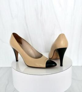 Chanel Beige Black Cap Toe Leather Classic pumps Shoes Size 40