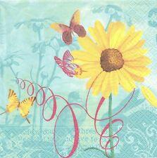 2 Serviettes en papier Fleur Tournesol Papillon Paper Napkins Lightness of being