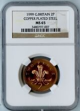 1999 GREAT BRITAIN NGC MS66 COPPER PLATED STEEL 2 PENCE! ONLY 1 IN MS65 BY NGC!