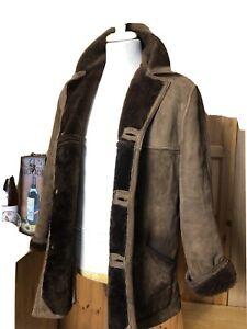 """734 Vintage SHEEPSKIN Coat Size 42""""SUEDE LEATHER Jacket Shearling Men's"""