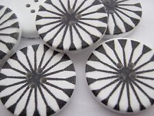 "4 Black White Floral Buttons 30mm (1 1/8"") Large Daisy Petal Wood Focal Buttons"