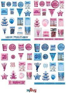 Birthday Glitz Blue / Pink Party Range, Plates/Napkins/Banners/Cups 13th - 100th