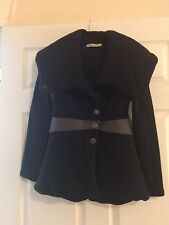 Auth BALENCIAGA Ghesquiere Black Gray Large Collar Jacket 36 2