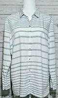 J.Jill Button Up Long Sleeve Collared Cotton Shirt Blue White Striped Size Large
