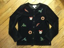 New! The Tog Shop Black Velour Jacket With Christmas Embroidery     Size Small