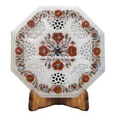 "12"" Marble Coffee Outdoor Table Top Hakik Inlay Floral Arts Hallway Decor E100"