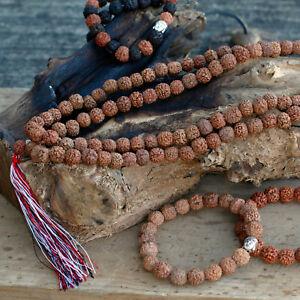 108 Rudraksha Mala - Natural Buddah Rosary Wooden Beads Necklace