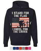 I Stand for the Flag I Kneel for the Cross Hoodie Patriotic Military