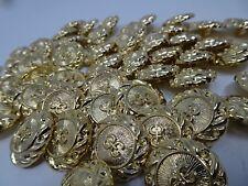 Vintage Gold Shank Buttons 3D Emblem 25mm Lot of 10 B58-10