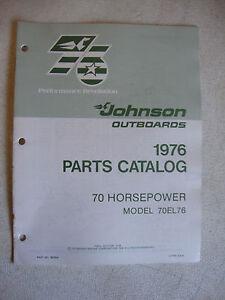 1976 Johnson 70 HP Outboard Motor Parts Catalog Model 70EL76