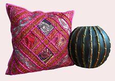 "16X16"" Zari Work Square Sofa Indian Handmade Ethnic Cotton Cushion Pillow Cover"