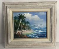 Beach Scene Hand Painted Original Oil Painting by K. Cummings Seashore Seagulls