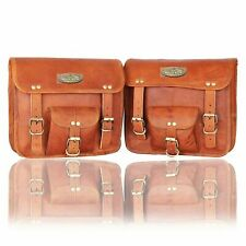 Motorcycle Saddlebags Side Nice Shape Leather 2 Pouch Panniers 2 Bags Stylish