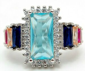 Top Quality 8CT Aquamarine & Topaz 925 Sterling Silver Ring Jewelry Sz 7 M7