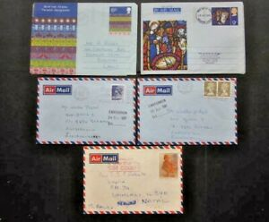 1970-1990 AN ECLECTIC GROUP OF FIVE POSTALLY USED AIR MAIL ITEMS. ( 02115 )