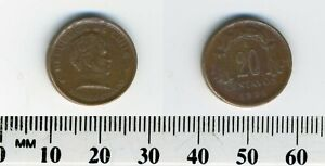 Chile 1951 - 20 Centavos Copper Coin - General Bernardo O'Higgins