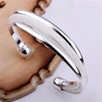 Slip-On Women's 925 Silver Stoneless Bangle & Box Birthday Valentine's Gift Girl
