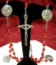 BEAUTIFUL RED RUBY BEAD POPE JOHN II 23 IN ROSARY NECKLACE INRI CROSS