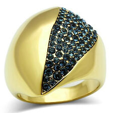 Montana Blue Crystal Pave Dome Gold EP Ladies Cocktail Ring